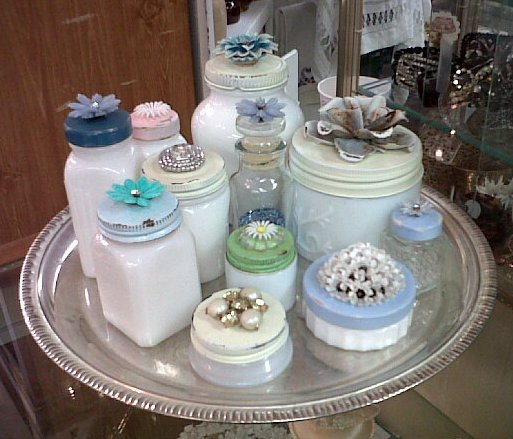 Repurposed Vintage Cosmetic Milkglass Jars Casual